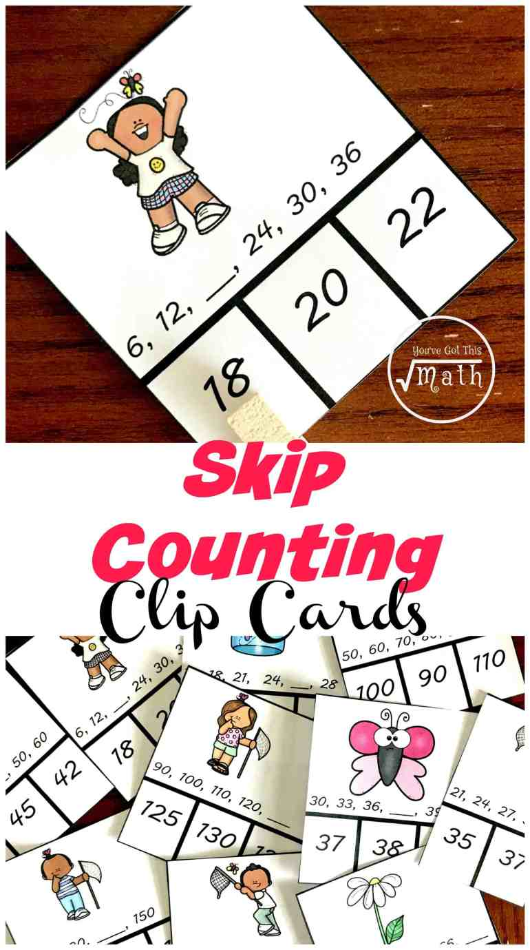 If your children have been working on skip counting and you want to see what they know, these skip counting clip cards are a great way to do so. There are four cards for the numbers two through fifteen! Perfect for Classical Conversations new math memory work.