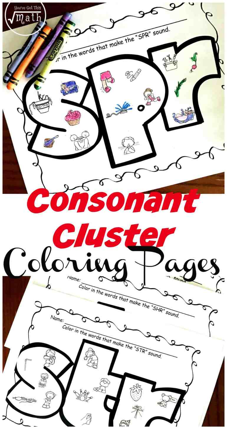 Grab these free consonant cluster worksheets to work on trigraphs and the sounds they make. Your children will enjoy coloring in the fun pictures and they practice saying the sounds that consonant clusters like spr, squ, and shr make.