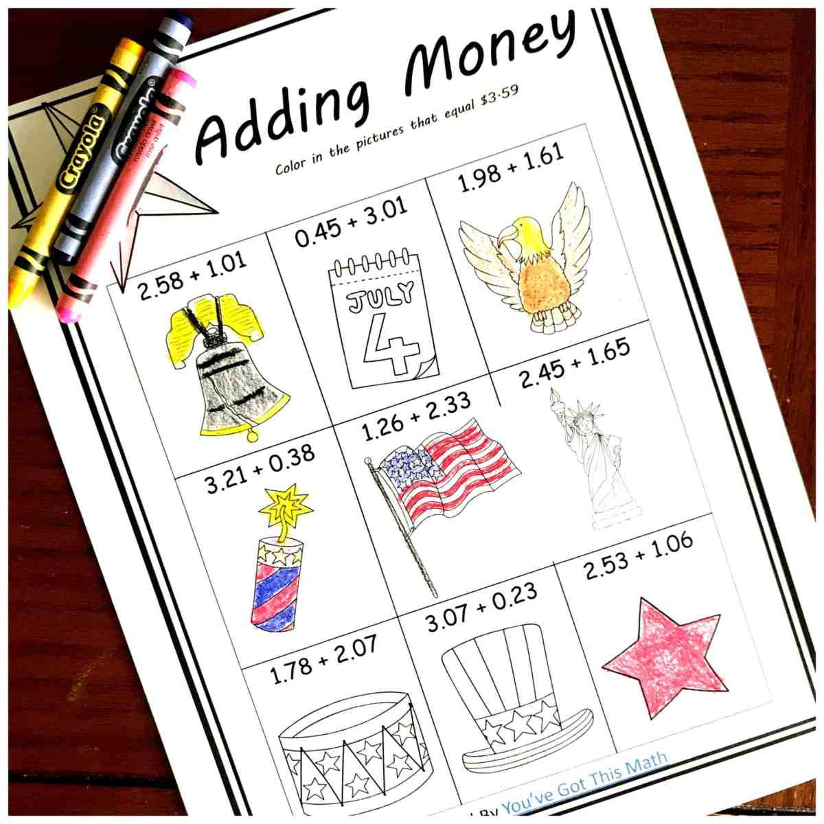 Five FREE Coloring Adding Money Worksheets with a Patriotic Theme