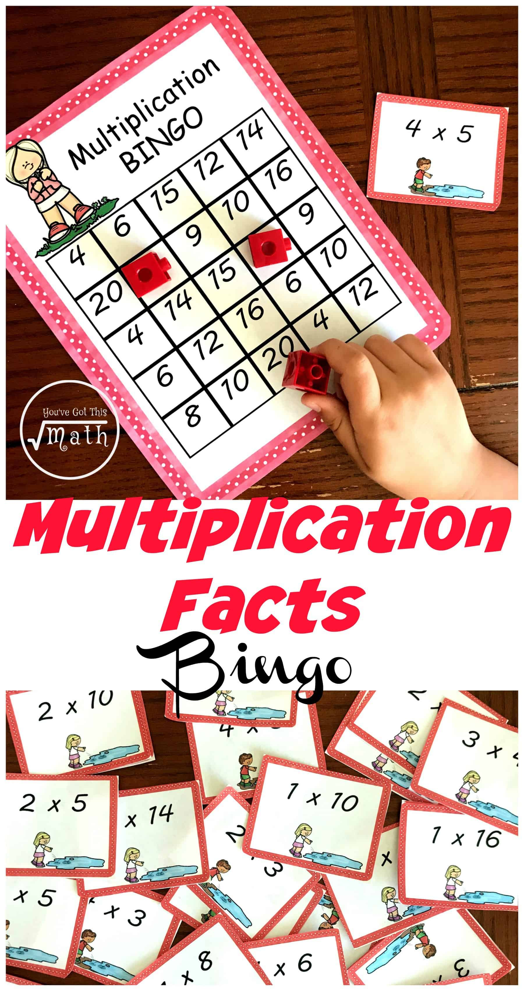 These fun multiplications games are a wonderful way for children to practice their multiplication facts. The children solve multiplication expressions and cover them up on their game board. The first person to get five in a row wins.
