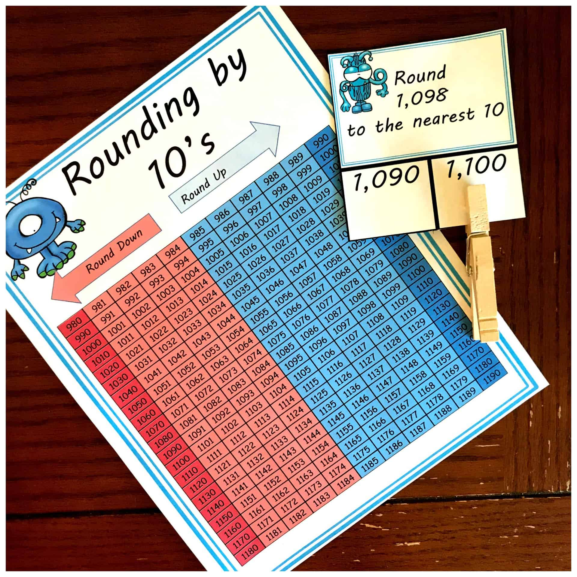 60 FREE Rounding By 10 Clip Cards with a Hundreds Chart