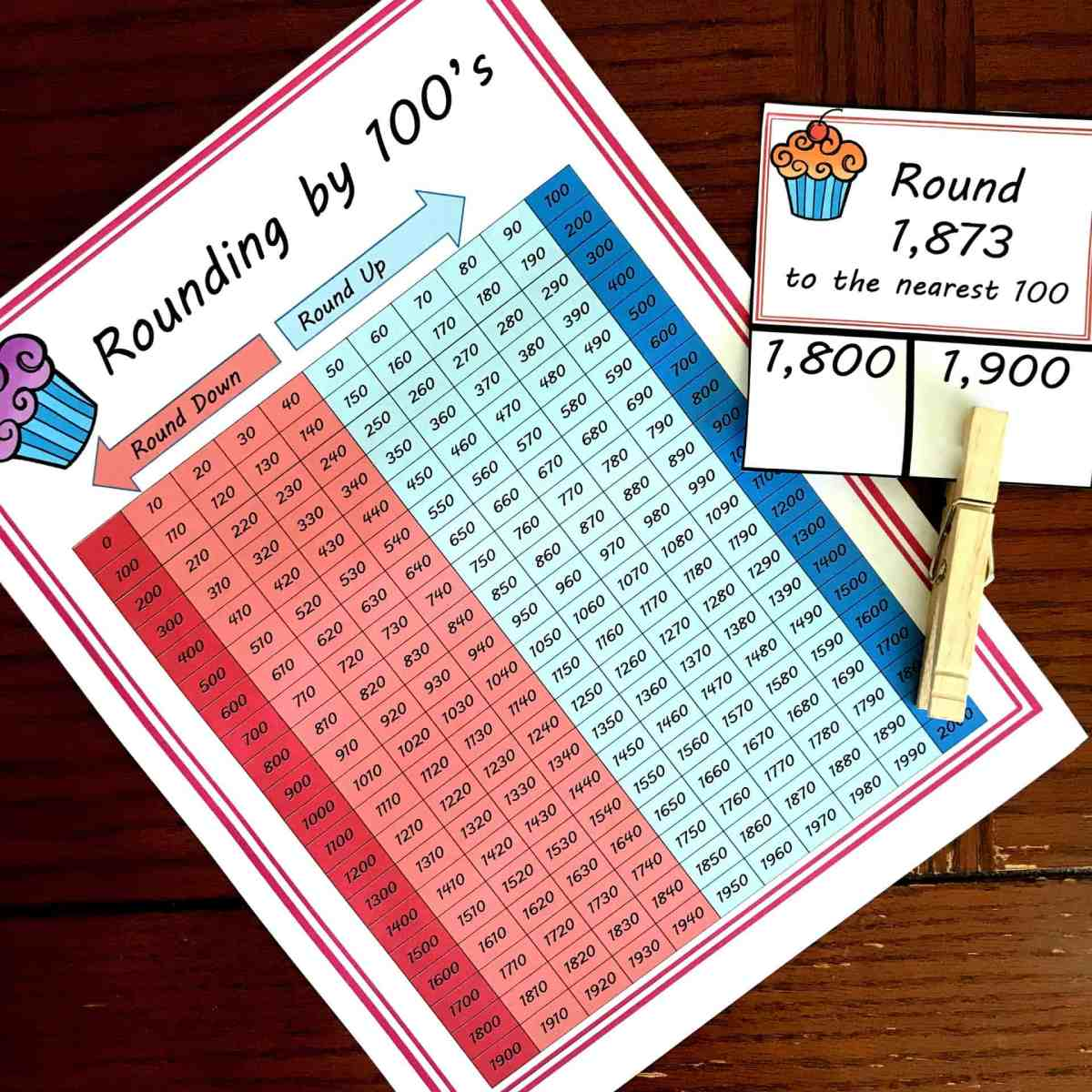 56 Clip Cards to Practice Rounding To The Nearest Hundred Using A Hundreds Chart