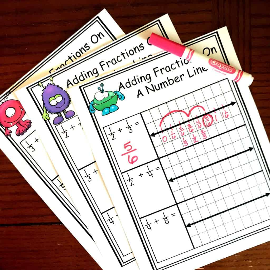 Free Worksheets For Adding Fractions With Unlike Denominators On A Number Line