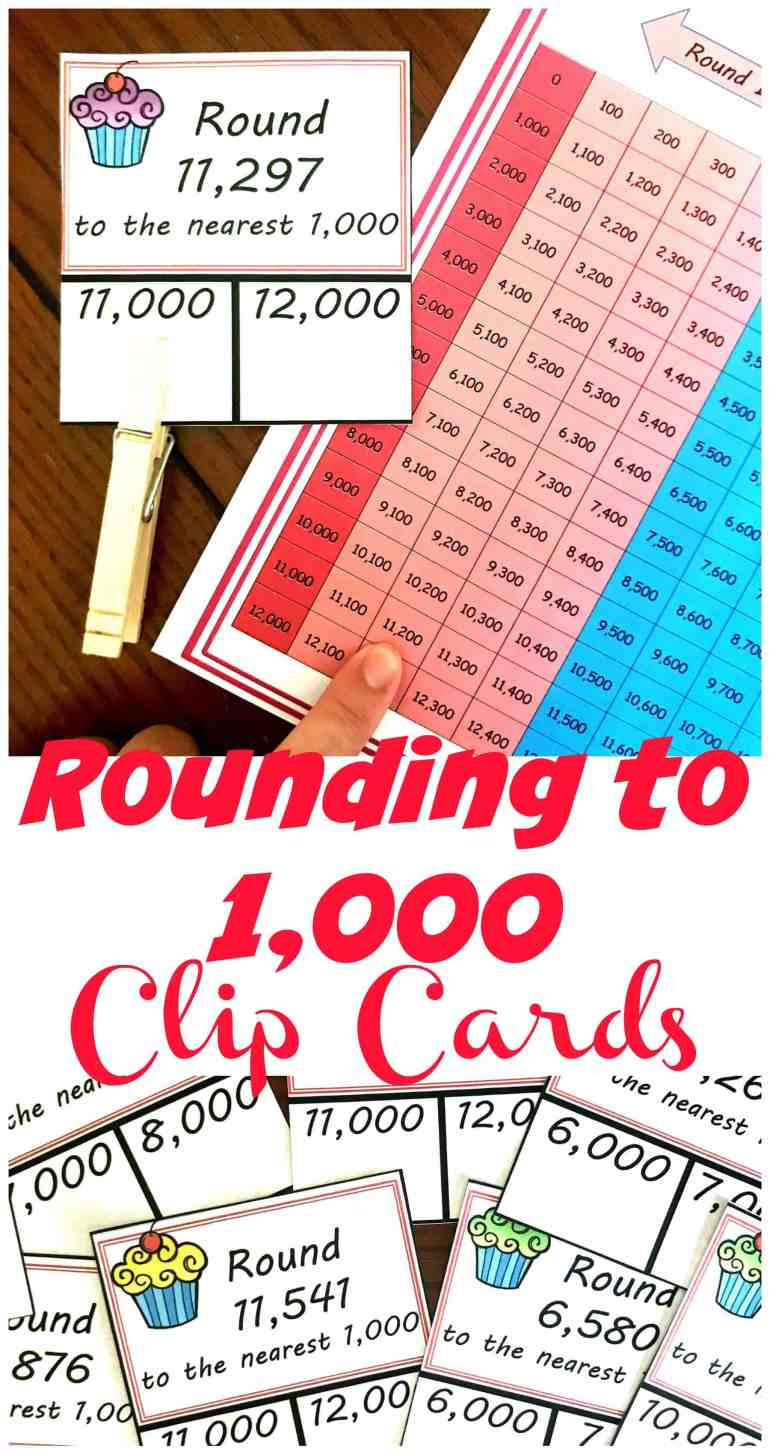 Practice rounding numbers to the nearest thousand with these cute clip cards and hundreds chart. This visual can help children who struggle with rounding.