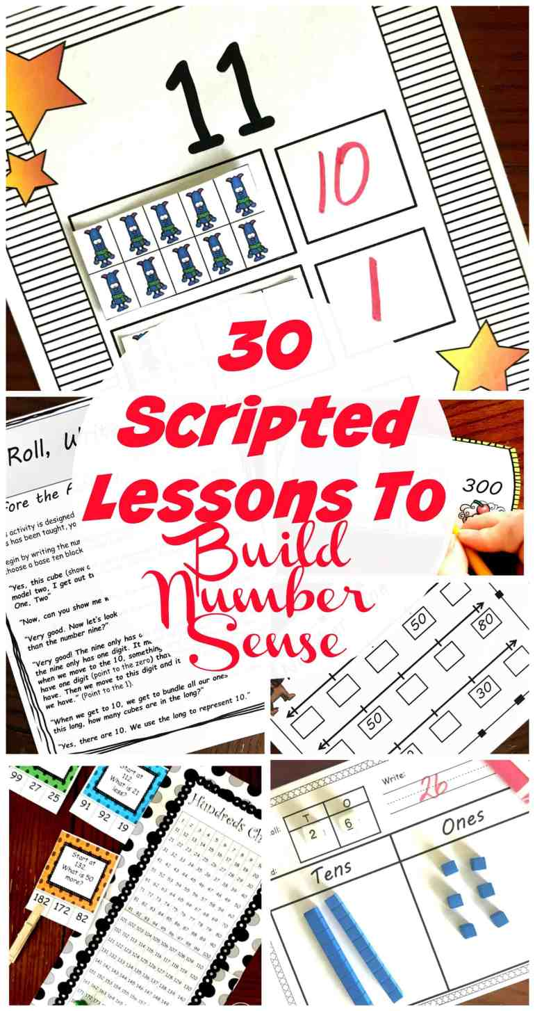 Grab these 30 Scripted Lessons for Developing Number Sense in Kindergarten, First, and Second Grade. The lessonsare fun and hands-on to make learning fun for your little ones, but at the same time helping them learn valuable skills. They will explore the hundreds chart, base ten blocks, and number line. Then they get to work on decomposing!