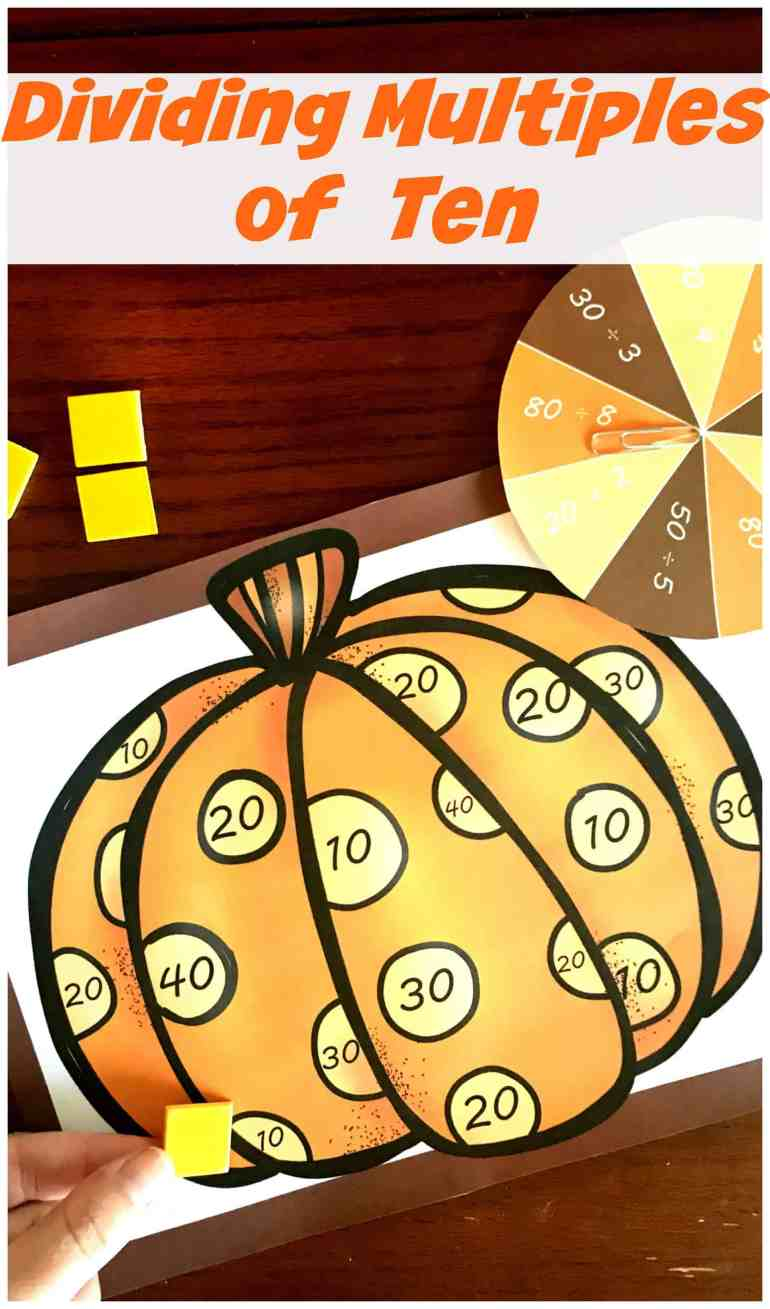 Grab this FREE low-prep game for extra practice dividing multiples of ten. This game has children spinning, solving problems, and covering up the answer.