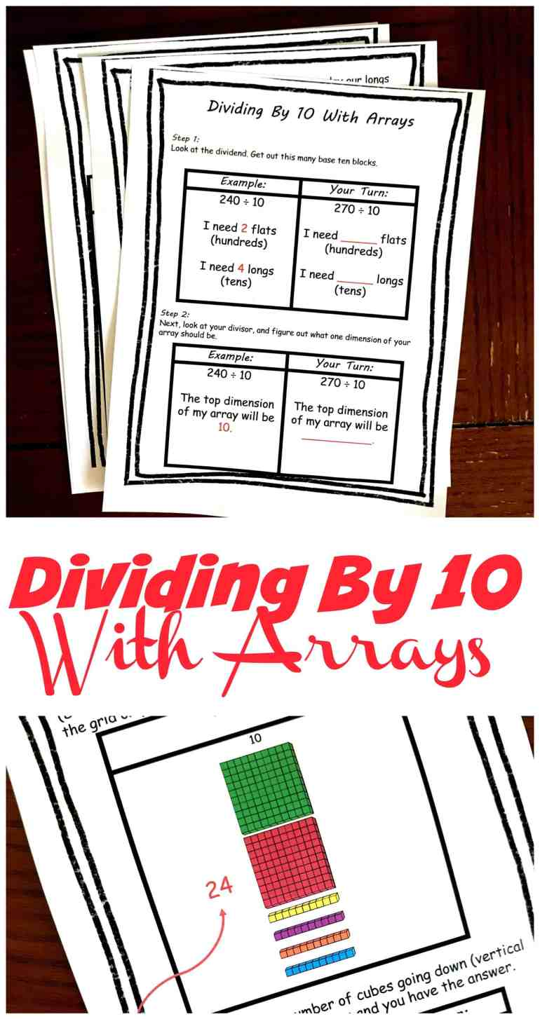 Grab these step by step directions for dividing by 10 using arrays. Children will learn how to use base ten blocks to create an array while dividing.