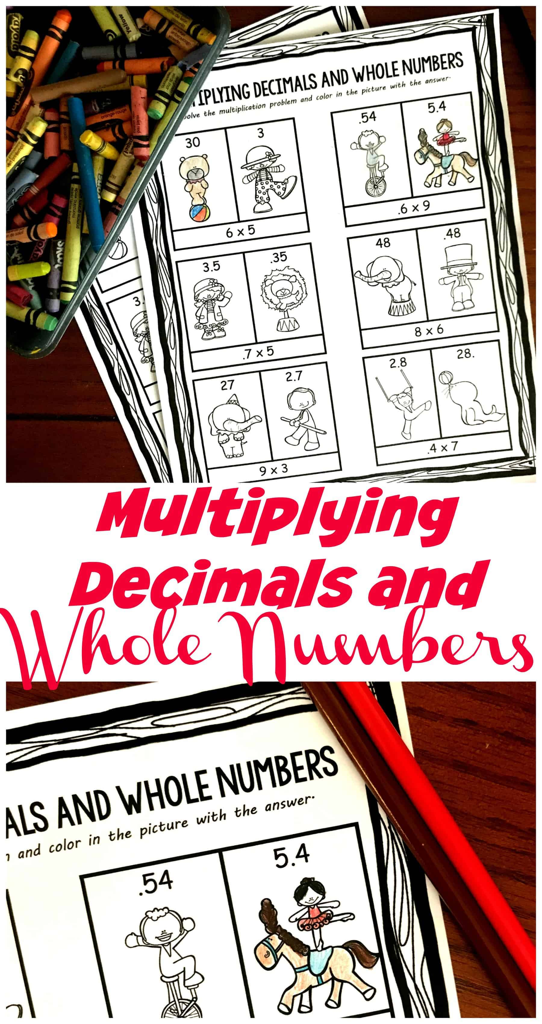 These free pages have children Multiplying Decimals and Whole Numbers (.2 x 9) and then coloring in the correct answer. Focuses on where the decimal should go