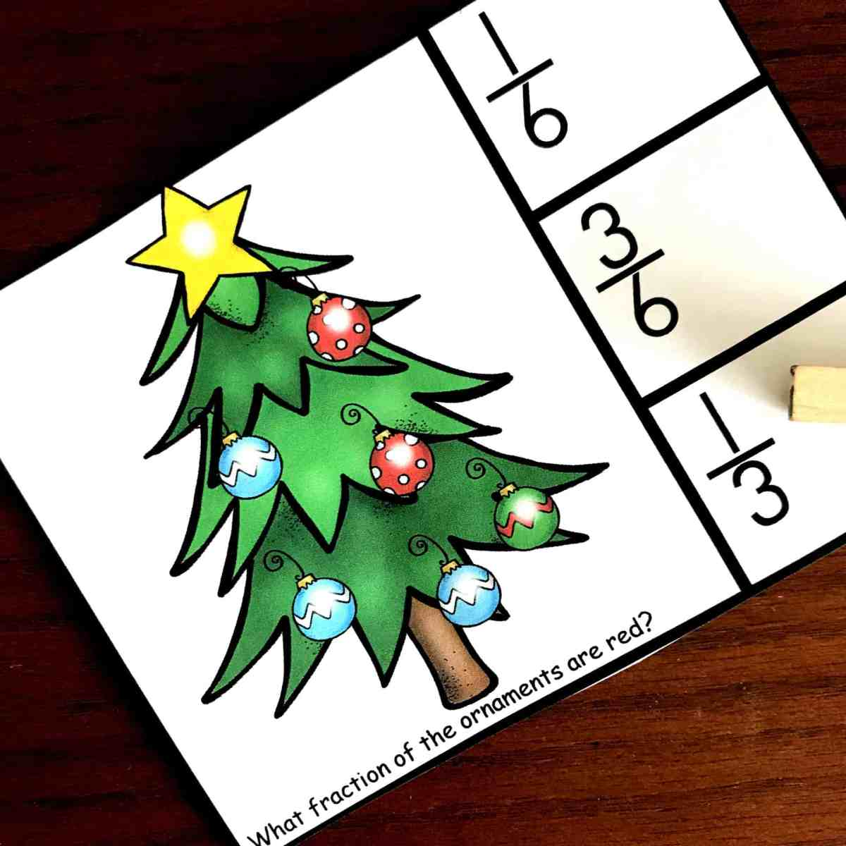 FREE Christmas Clip Cards to Practice Fractional Parts of A Set