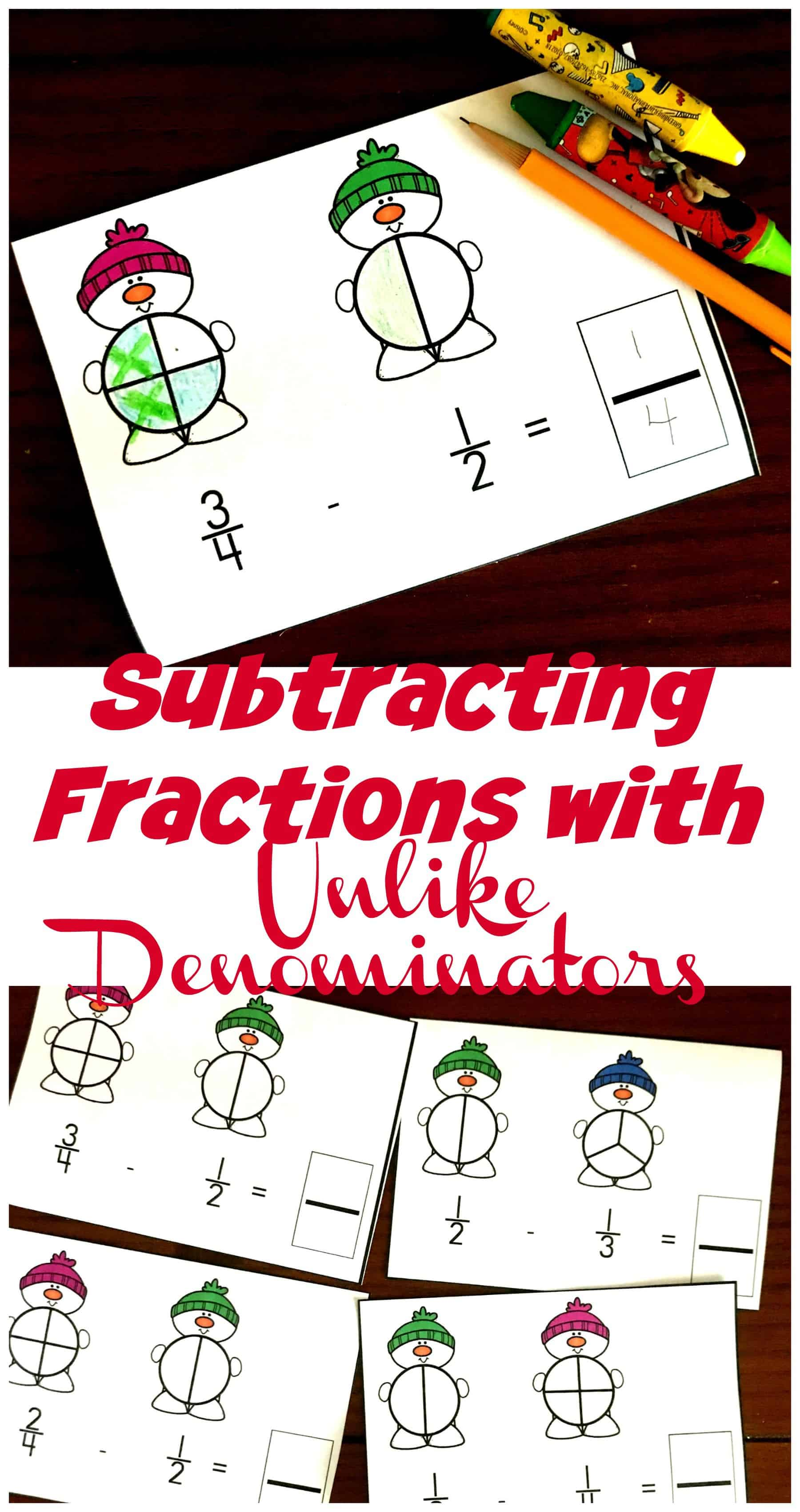 Grab these adorable snowmen to help children model subtracting with, unlike denominators. They are a fun, visual way to practice this skill.
