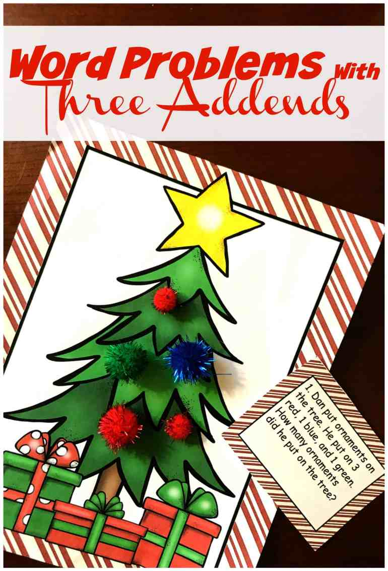 free christmas word problems with multiple addends and sums to 20