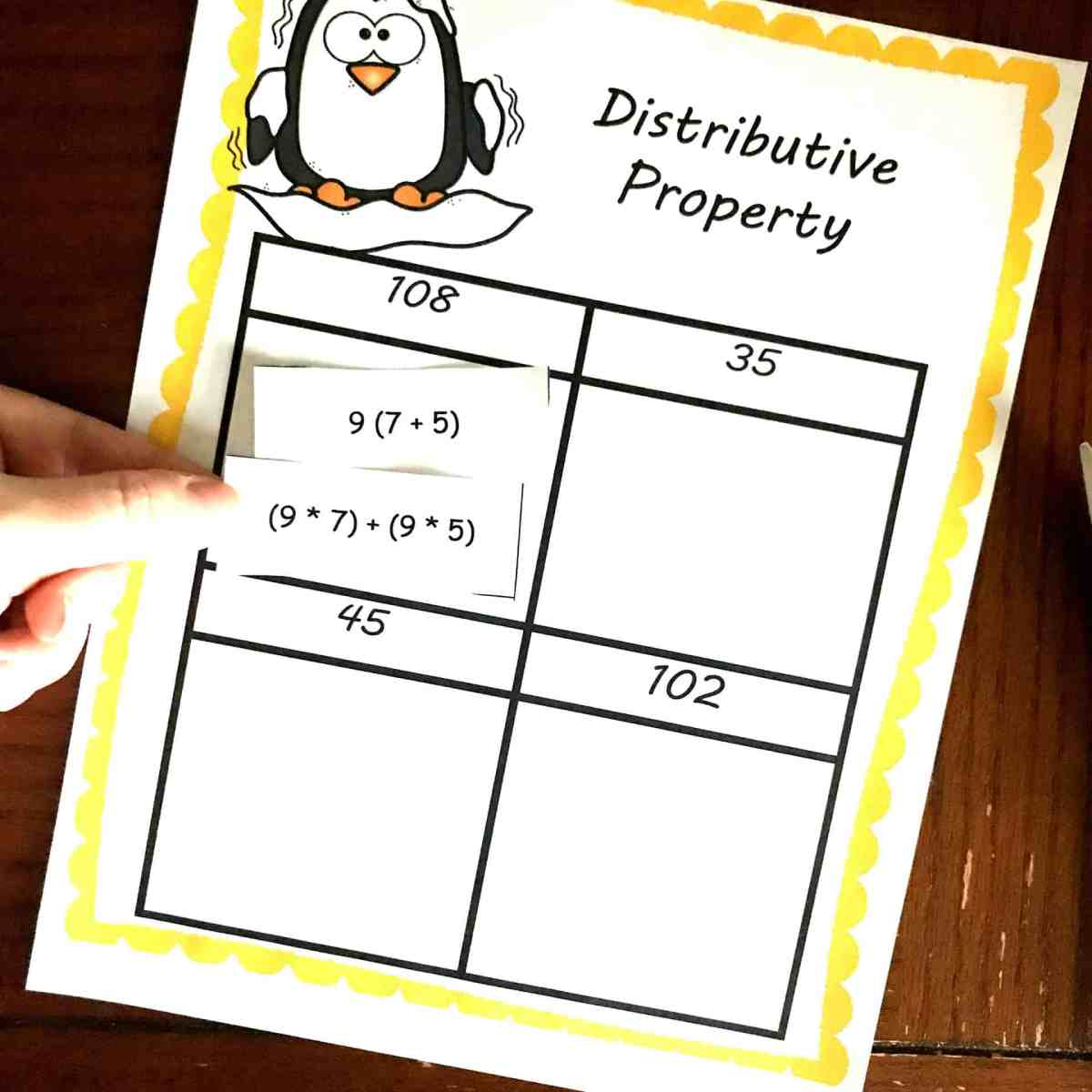 THREE, FREE Distributive Property Worksheets with a Winter Theme