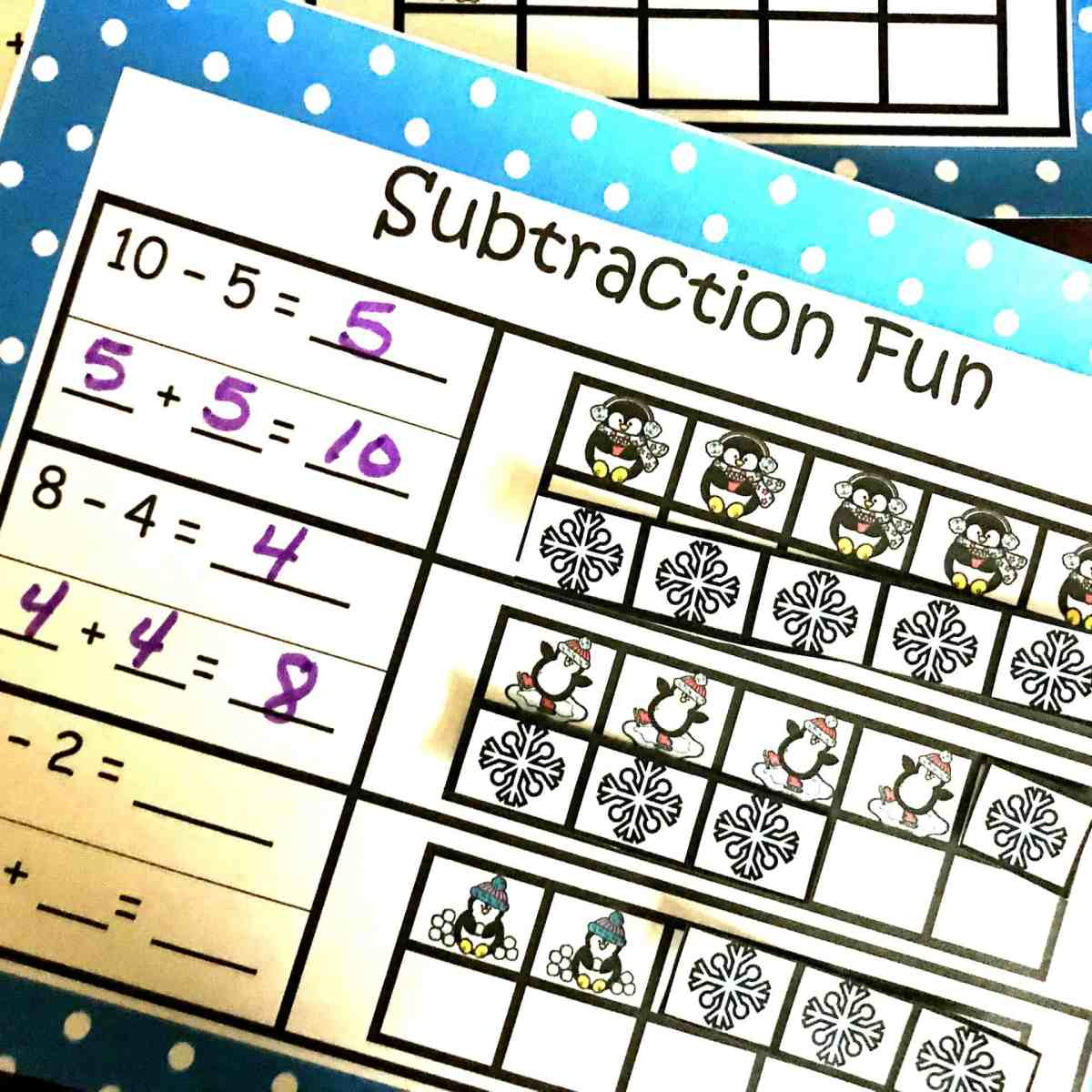 Find the Missing Addend in a Subtraction Problem Cut and Paste Activity