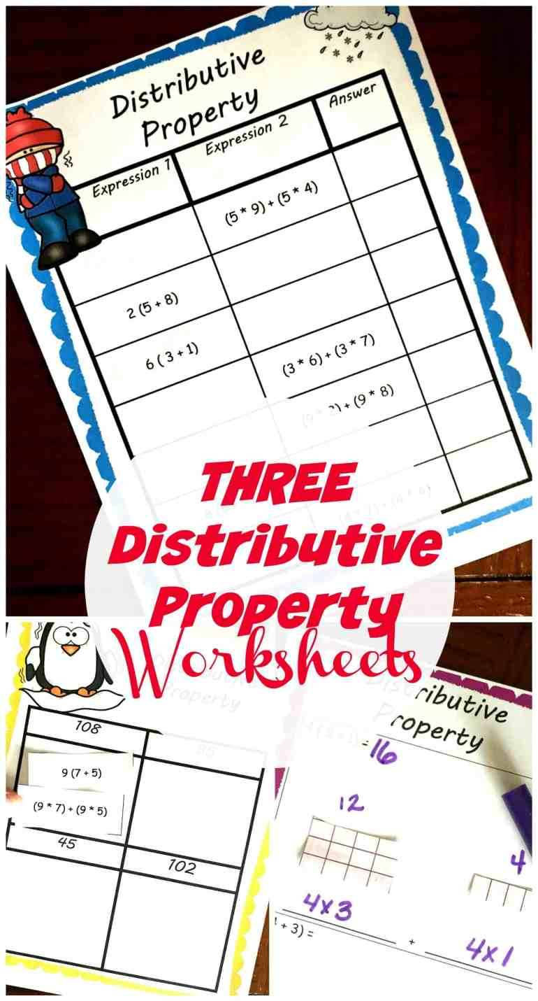 Grab Three, FREE distributive property worksheets so children can practice creating and solving expressions like     a(b + c ) = (a * b) + (a * c).