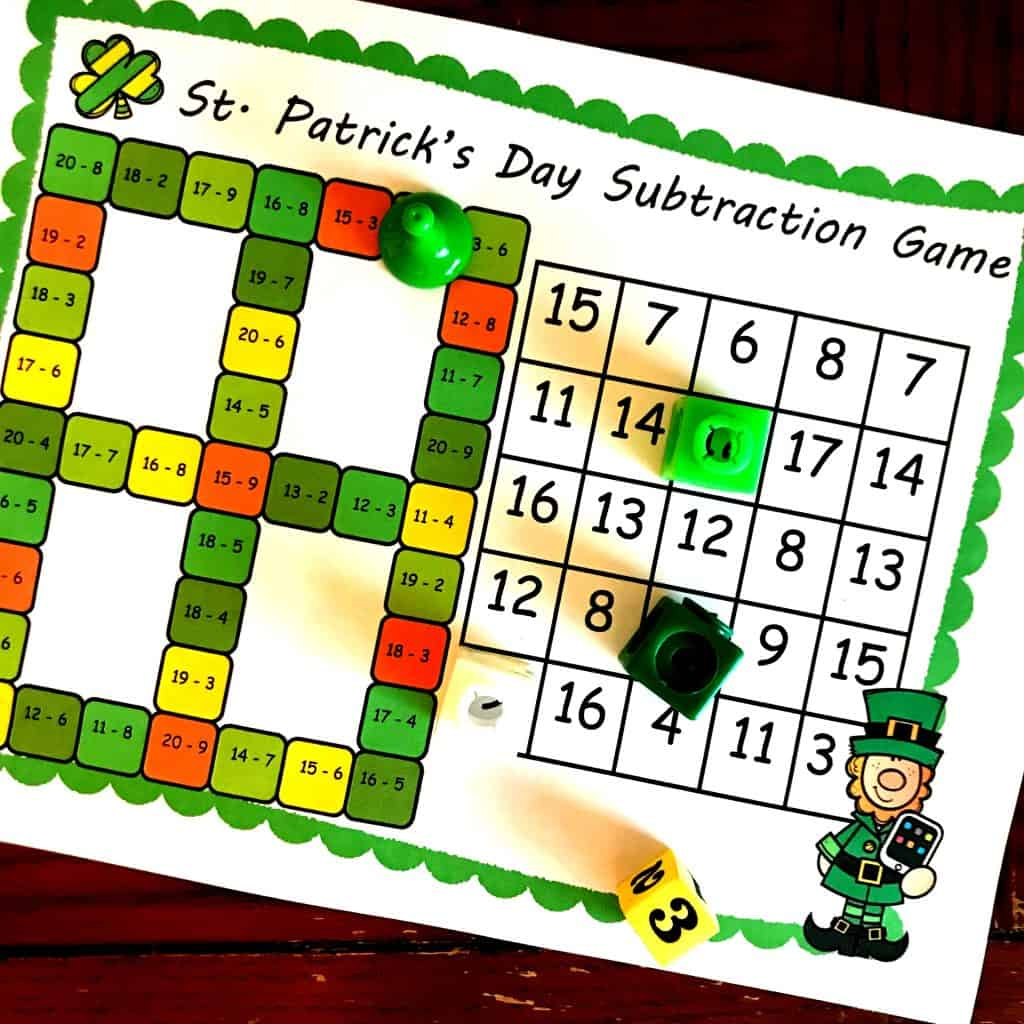 No Prep First Grade Subtraction Game With St Patrick S