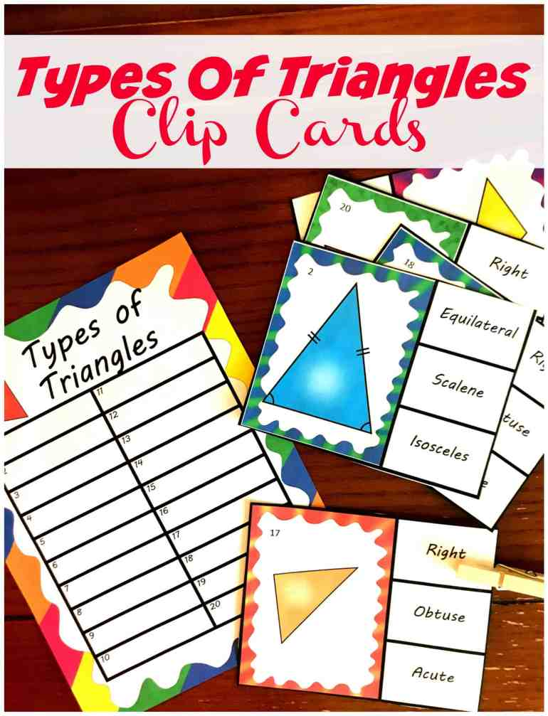 Your students will love these FREE clip cards for different types of triangles. Have them recognize and name scalene, isosceles, equilateral, right, obtuse and acute triangles.
