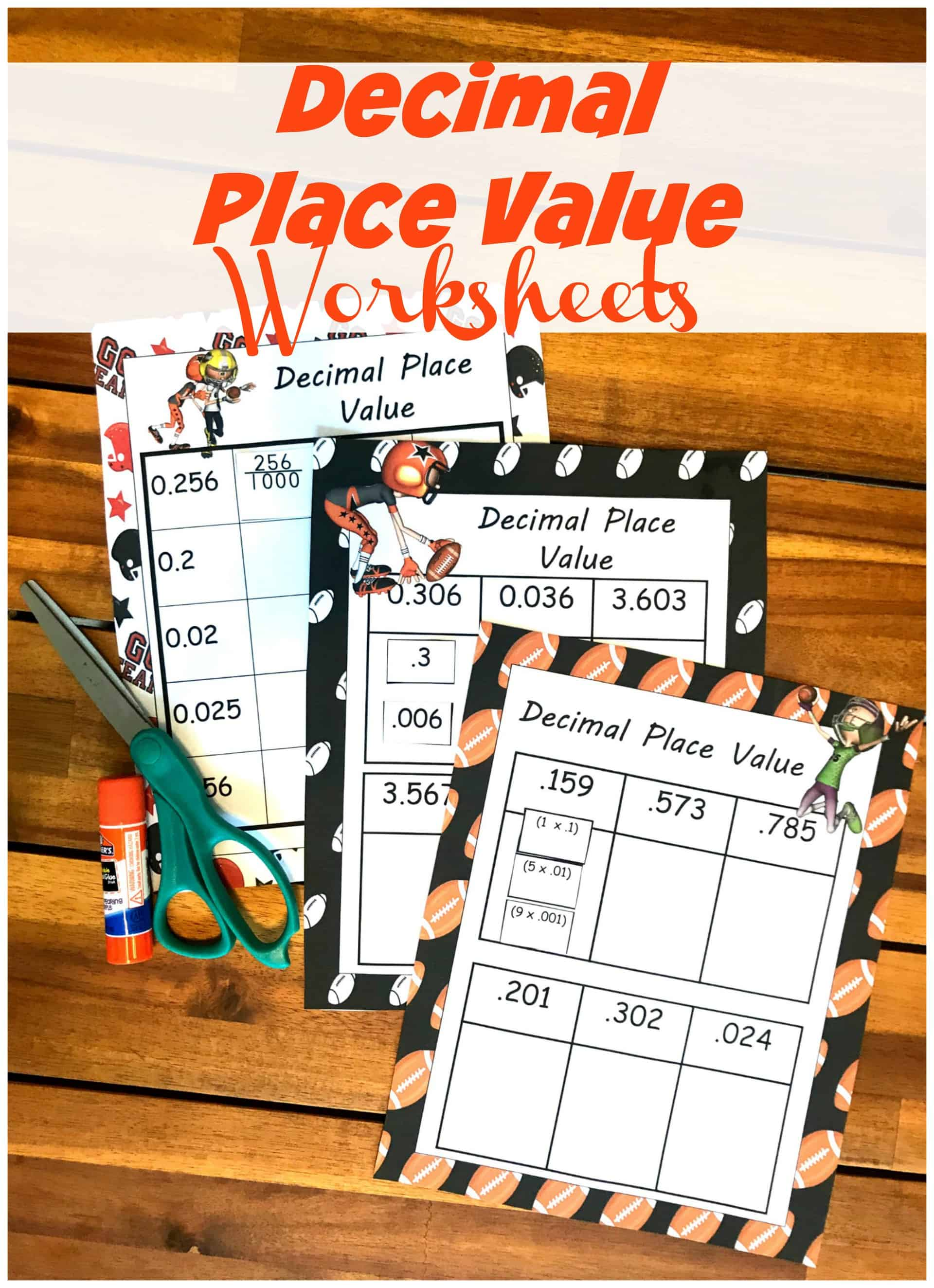 Free Cut and Paste Decimal Place Value Worksheets (Expanded ...