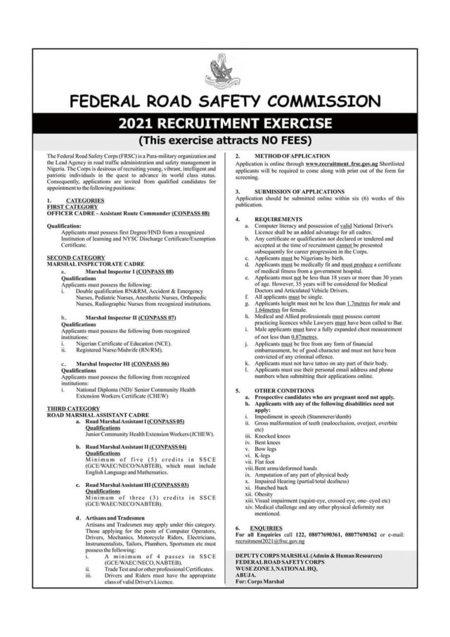 FRSC Recruitment is here