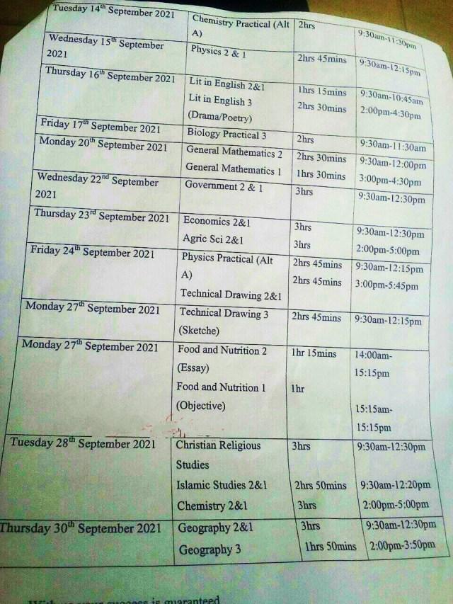 Updated waec timetable