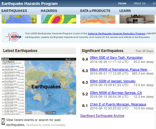 USGS 7/9/16 List of Significant Earthquakes
