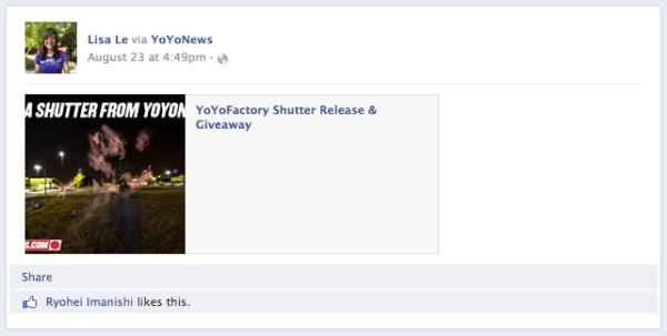 Shutter Giveaway Facebook Winner
