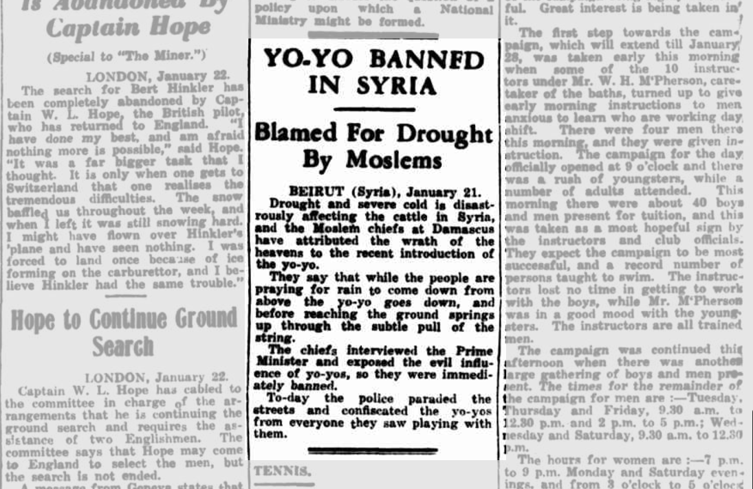 YoYos Banned In Syria 1933