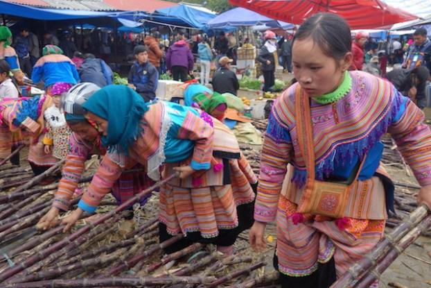 Achat de balai sur le marché de Bac Ha. Les acheteuses descendent des montagnes pour faire les achats