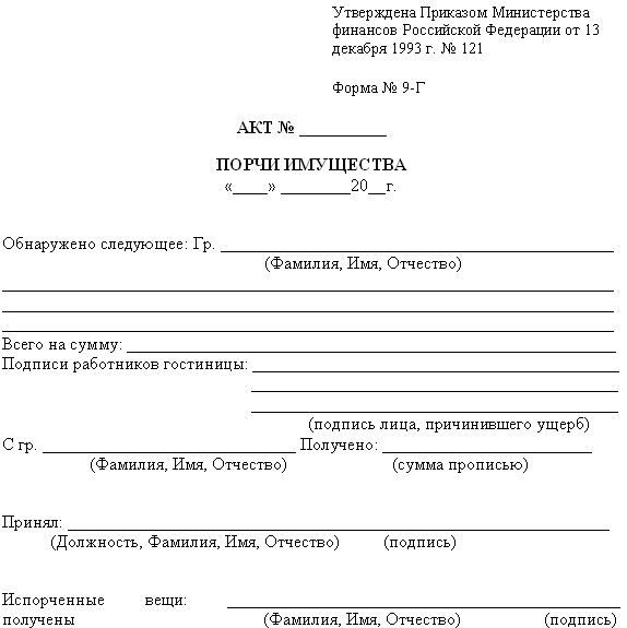 Как написать акт нанесение ущерба