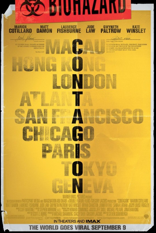 """contagion movie poster 540x803 - """"Nothing Spreads Like Fear"""" Contagion Contest"""