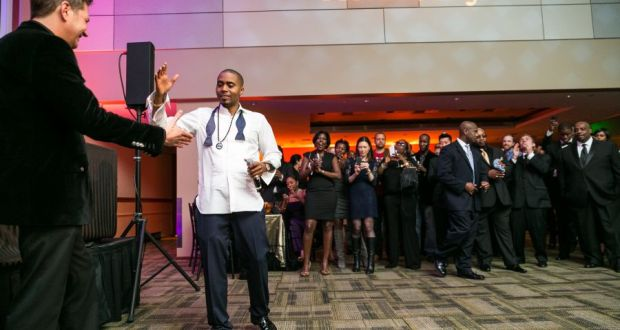 Nas giving a high five - Event Recap: Nas Celebrates 20 Year Illmatic Anniversary with Hennessy V.S!  @Nas @HennessyUS #WildRabbit