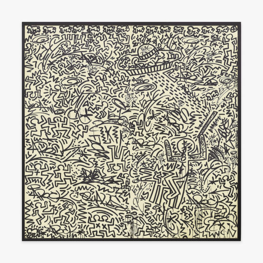 Haring LA II – Untitle two panel mural 1982 – Image 1 – LR 540x540 - The Art of Collaboration Exhibit September 17-October 27th, 2018 Venus Over Manhattan Gallery @V_over_M