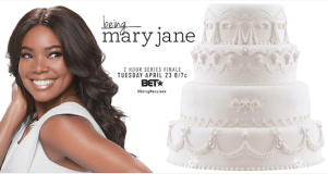 BMJ Billboard Image - Being Mary Jane celebrates series finale with #wedding cake billboard created by Ayesha Curry  @BET @itsgabrielleu @ayeshacurry #BeingMaryJane