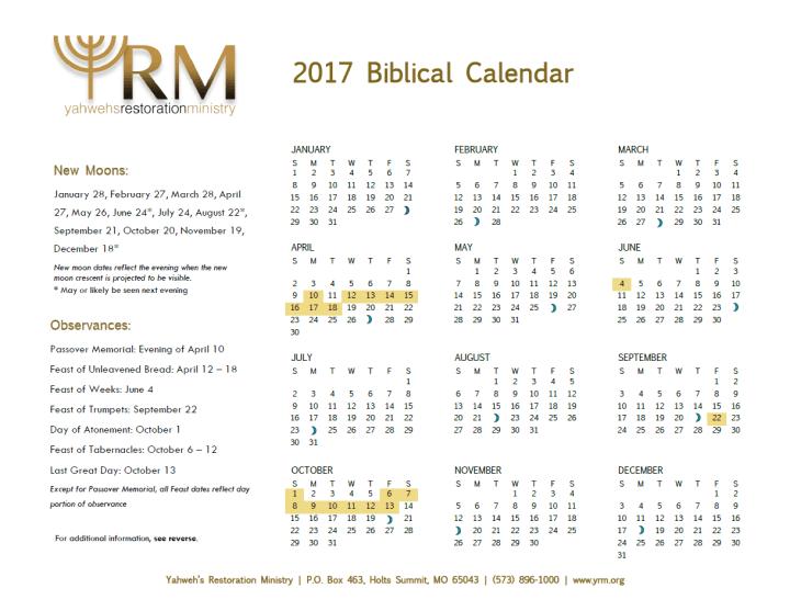 Biblical Calendar.2017 Biblical Calendar Yahweh S Restoration Ministry