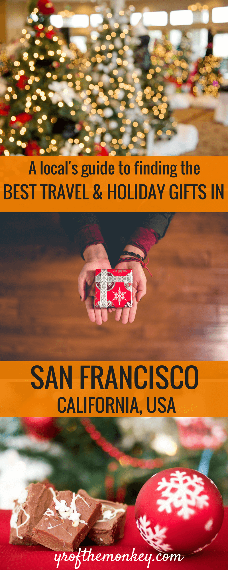 Looking for a holiday gift guide in San Francisco, California or personalized,local San Francisco Souvenirs? Read this local's guide to find the best Christmas and Thanksgiving gifts in San Francisco from the SFMade collective. Pin it to your San Francisco board. #sanfranciscosouvenirs #sanfrancisco #USA #California #travelgiftguide #holidaygifts #holidayseason #shopping #shopsmallbusiness