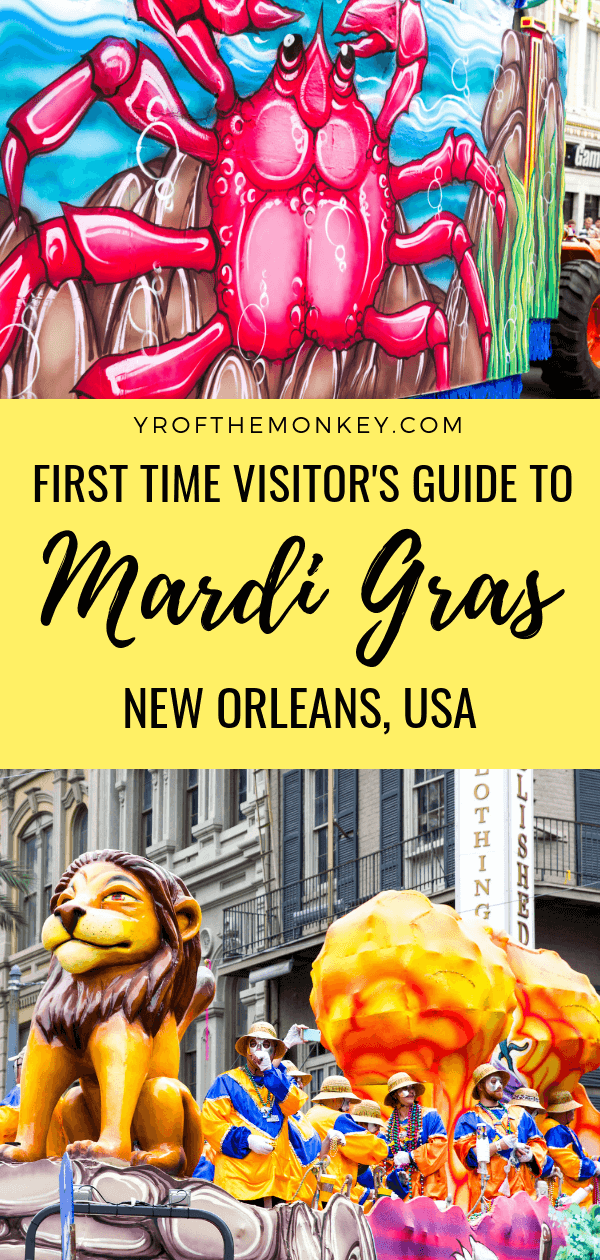Visiting New Orleans, USA for Mardi Gras celebrations for the first time? Read these Mardi Gras tips from locals and previous visitors for information on New Orleans hotel, dressing, Mardi Gras parade schedules, do's and don'ts and favorite Floats! Pin this to your USA or culture travel board now! #mardigras #neworleans #USAvacation #mardigrasitinerary #mardigrasguide #mardigrasparades #USA