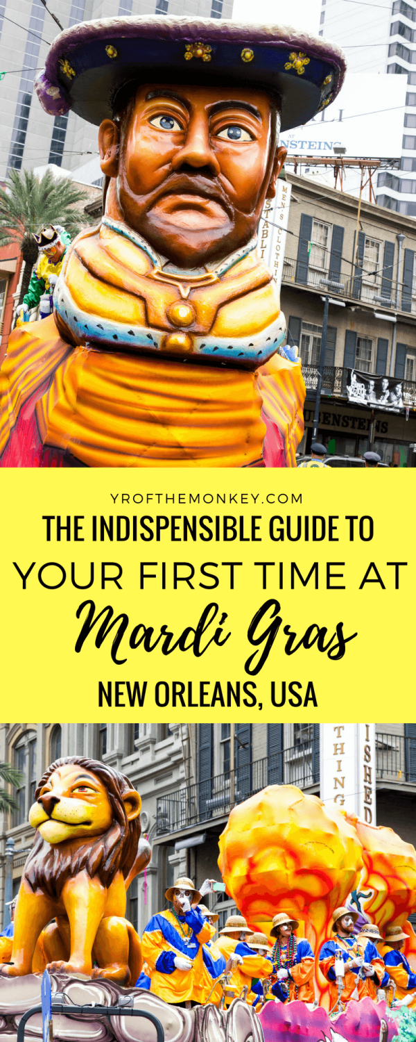 Visiting New Orleans, USA for Mardi Gras celebrations for the first time? Read these Mardi Gras tips from locals and previous visitors for information on New Orleans hotel, dressing, Mardi Gras parade schedules, do's and don'ts and favorite Floats! Pin this to your USA or culture travel board now! #mardigras #neworleans #USAvacation #mardigrasitinerary #mardigrasguide #mardigrasparades