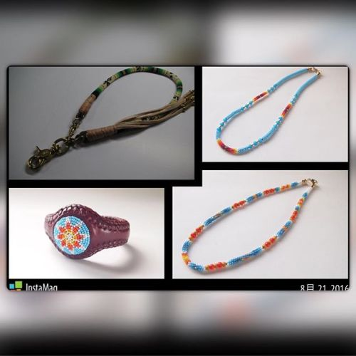 barnstormer様からご注文頂きましたwalletrope、necklace、braceletご紹介しますwalletropeはgreen系という事で明る過ぎないようにでも暗くなり過ぎないようにを心がけ柄の部分のベースはwhiteだと明るくなるのでdarkwhiteの色を使い落ち着いたかっこいい雰囲気に仕上げる事ができたと思いますnecklaceは前回作った物と同じデザインが1つとturquoise blue系で短いタイプの物が1つ明るめに仕上げましたそしてnecklaceの色に合わせた感じでbracelet!!上手くデザイン入ったと思います#beadswork  #buffalotracks #necklace #bracelet #turquoiseblue #green #walletrope #darkwhite#handmade