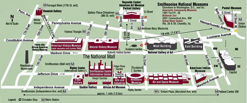 Smithsonian Art Gallery Dc Map