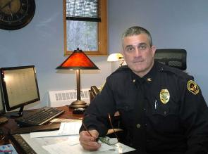Officer Brian Carlson, a six-year veteran of the Yellow Springs police department, was named permanent chief June 5, after serving since Jan. 23 as interim chief. (Photo by Audrey Hackett)