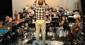 James Johnston rehearsed the combined forces of the Yellow Springs Community Orchestra and Chorus in preparation for the Saturday evening's performance of Beethoven's groundbreaking 9th Symphony, at 7:30 p.m. in Antioch College's Foundry Theater. (Photo by Matt Minde)