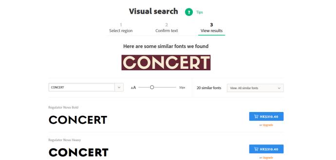 上載圖片後,Adobe Typekit 就會找出與圖片最相似的字體。