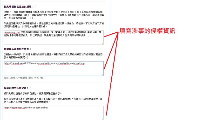 從 Google 移除內容中填寫涉事的侵權資訊