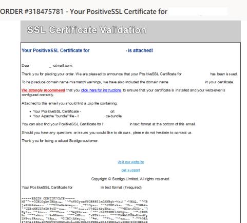 於電郵收到 SSL 憑證資料