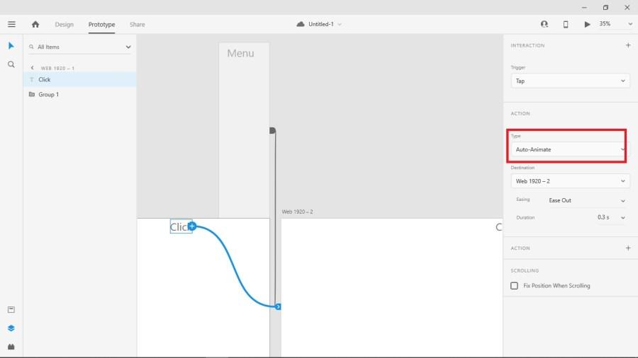 在 Adobe XD 為觸發互動的物件建立 Auto Animate