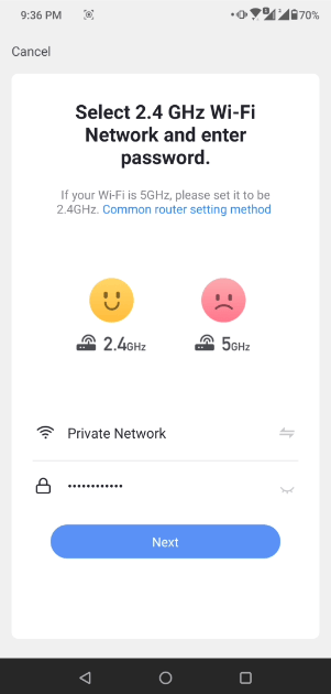 memilih wifi yang akan disambungkan ke aplikasi bardi