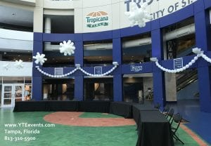 Ceiling balloon decor at Tampa Bay Rays event Snowflakes