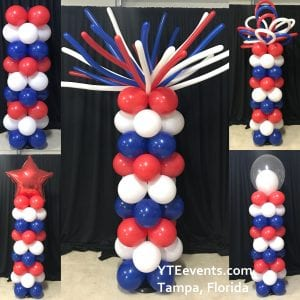 Patriotic Balloon Column Topper Choices YTE