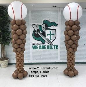 Tampa Catholic School Baseball Balloon Columns