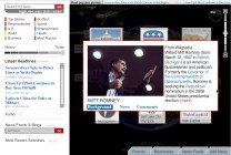 Selecting Romney's profile, we see a brief bio and different subject areas behind him