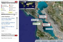 Similarly, we can zoom into geographic location, and see the latest news for San Francisco.
